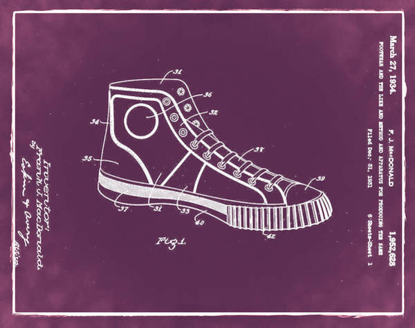 Photograph - Converse Allstar Patent 1934 Red by Bill Cannon