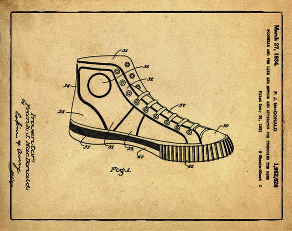 Wall Art - Photograph - Converse Allstar Patent 1934 Sepia by Bill Cannon