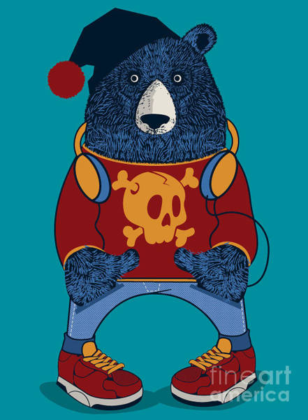 Wall Art - Digital Art - Cool Bear Character Vector Design For by Braingraph