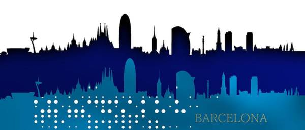 Digital Art - Cool Blue Barcelona Skyline. by Alberto RuiZ