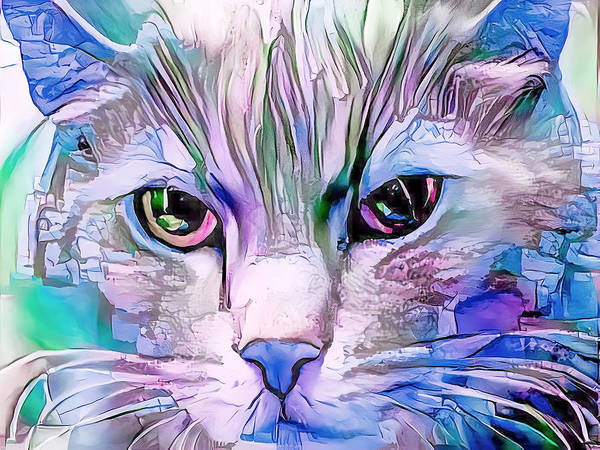 Digital Art - Cool Blue Cat by Don Northup