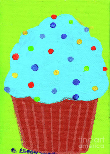 Icing Painting - Cool Blue Cupcake With Green Background by Genevieve Esson