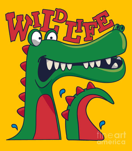 Wall Art - Digital Art - Cool, Cute Monster Crocodiles Character by Braingraph