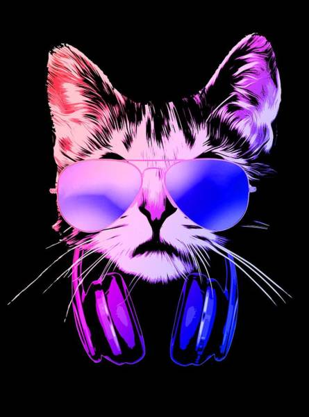 Wall Art - Digital Art - Cool Dj Cat In Neon Lights by Filip Hellman