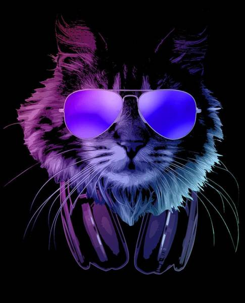 Wall Art - Digital Art - Cool Dj Furry Cat In Neon Lights by Filip Hellman
