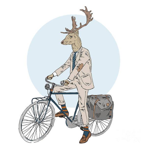 Sophisticated Wall Art - Digital Art - Cool Dressed Deer On Bicycle, Furry by Olga angelloz