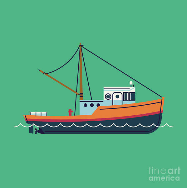 Wall Art - Digital Art - Cool Flat Design Fishing Boat Seaway by Mascha Tace