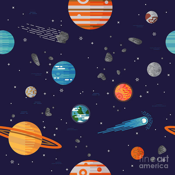 Science Education Wall Art - Digital Art - Cool Galaxy Planets And Stars Space by Mascha Tace
