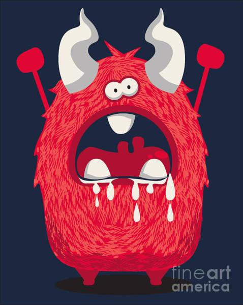 Laughing Wall Art - Digital Art - Cool Monster, Yeti, Alien by Braingraph