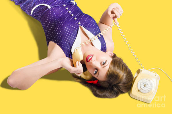 Wall Art - Photograph - Cool Pin-up Girl Making Conversation On Telephone by Jorgo Photography - Wall Art Gallery