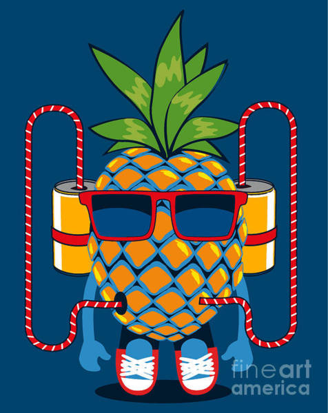 Wall Art - Digital Art - Cool  Pineapple Character Vector Design by Braingraph