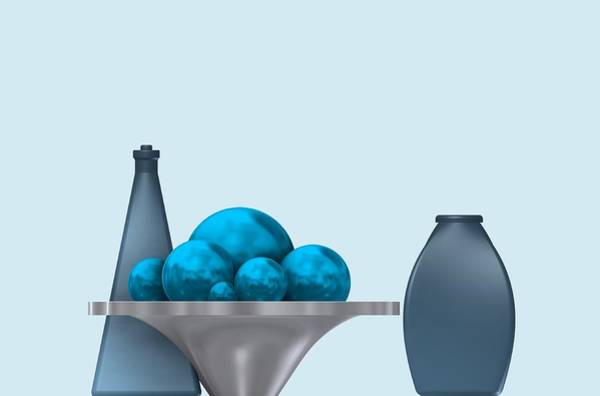 Digital Art - Cool Still Life With Blue Spheres by Alberto RuiZ