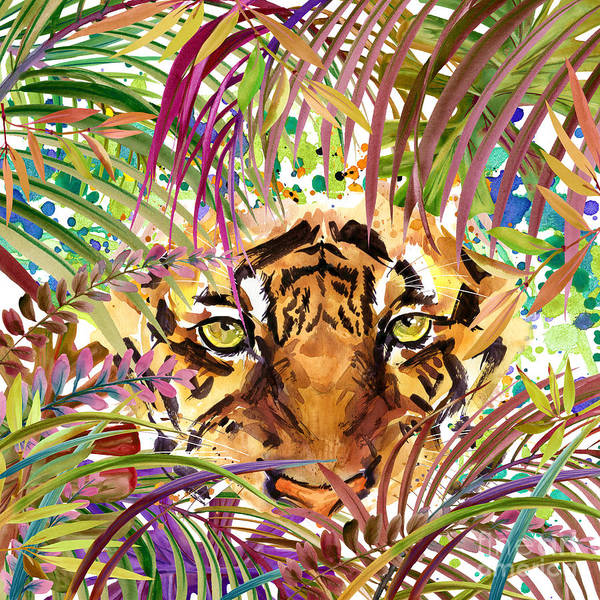 Wall Art - Digital Art - Cool Tiger. Watercolor Illustration by Faenkova Elena