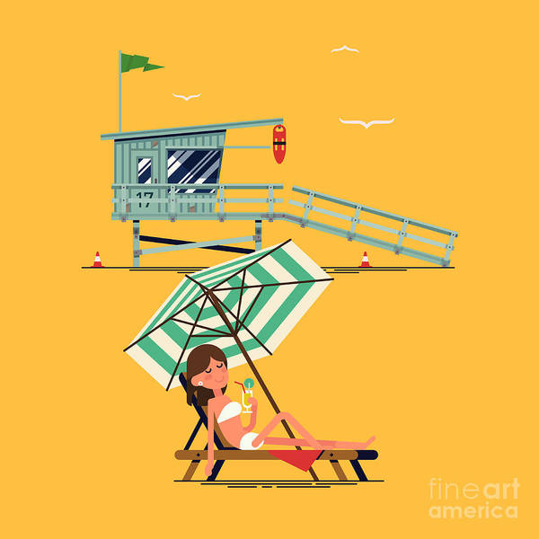 Wall Art - Digital Art - Cool Vector Background On Summer Beach by Mascha Tace