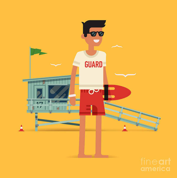 Guard Tower Wall Art - Digital Art - Cool Vector Modern Flat Character by Mascha Tace