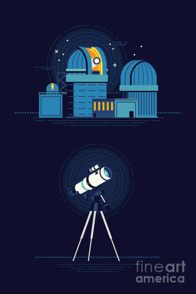 Cool Vector Modern Observatory At Night Art Print