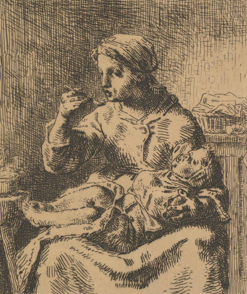 Relief - Cooling The Porridge by Jean-Francois Millet