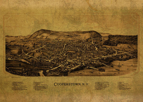 Baseball Hall Of Fame Mixed Media - Cooperstown New York City Street Map 1890 by Design Turnpike