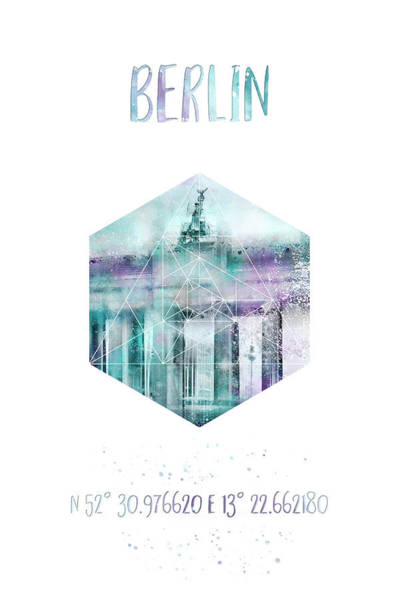 Wall Art - Photograph - Coordinates Berlin Brandenburg Gate - Jazzy Watercolor by Melanie Viola
