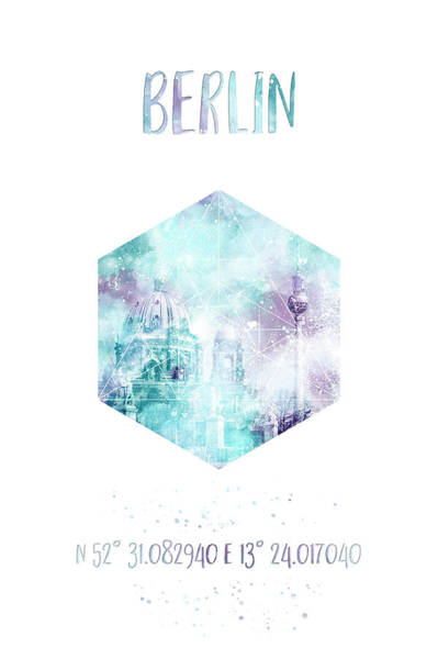 Berlin Cathedral Photograph - Coordinates Berlin Cathedral And Television Tower - Jazzy Watercolor by Melanie Viola