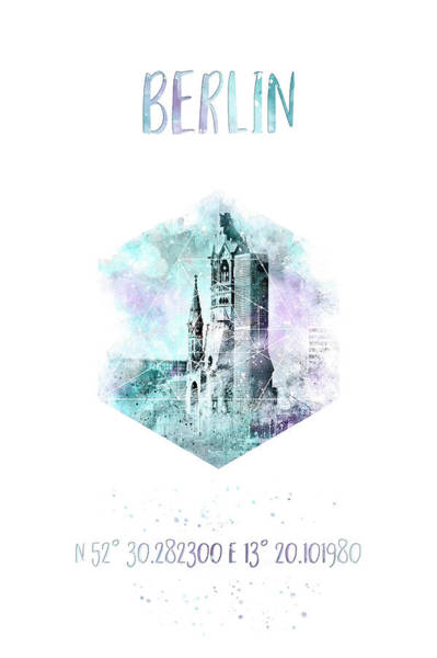 Wall Art - Digital Art - Coordinates Berlin - Jazzy Watercolor by Melanie Viola