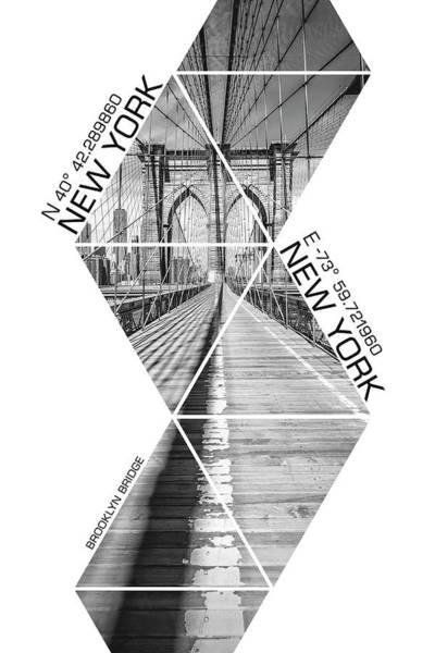 Wall Art - Photograph - Coordinates New York City Brooklyn Bridge - Monochrome by Melanie Viola