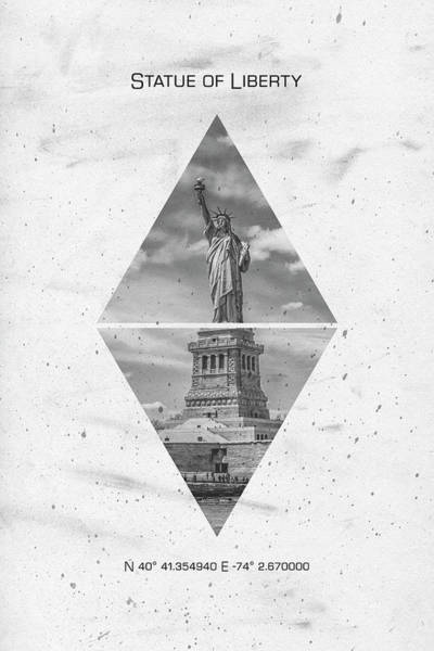 Wall Art - Photograph - Coordinates New York City Statue Of Liberty  by Melanie Viola