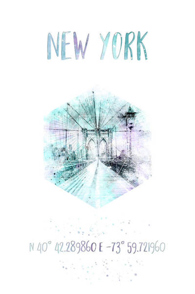 Wall Art - Photograph - Coordinates Nyc Brooklyn Bridge - Watercolor by Melanie Viola