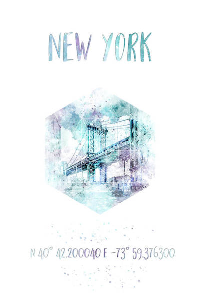 Wall Art - Photograph - Coordinates Nyc Manhattan Bridge - Jazzy Watercolor by Melanie Viola