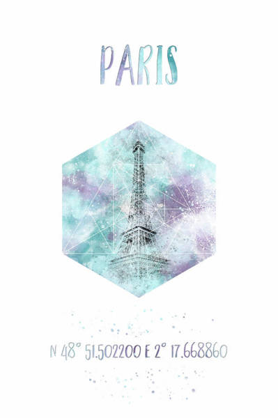 Wall Art - Photograph - Coordinates Paris Eiffeltower - Watercolor by Melanie Viola
