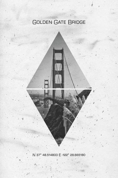 Wall Art - Photograph - Coordinates San Francisco Golden Gate Bridge by Melanie Viola
