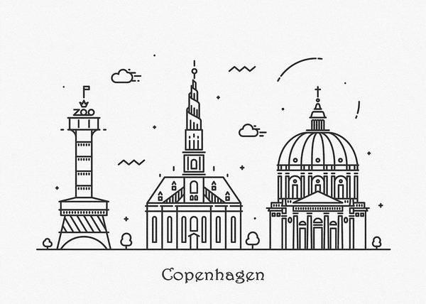 Landmark Center Drawing - Copenhagen Cityscape Travel Poster by Inspirowl Design