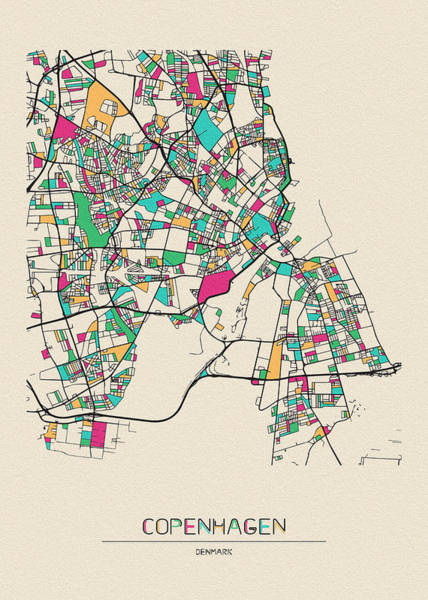 Wall Art - Drawing - Copenhagen, Denmark City Map by Inspirowl Design