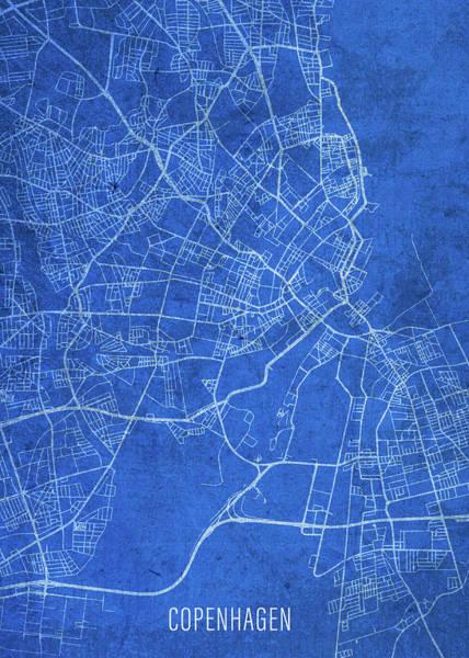 Wall Art - Mixed Media - Copenhagen Denmark City Street Map Blueprints by Design Turnpike