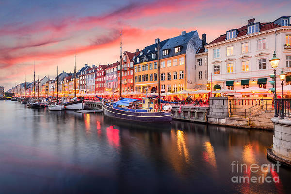 Copenhagen, Denmark On The Nyhavn Canal Art Print