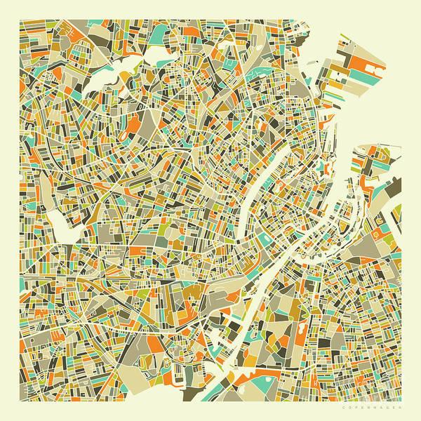 City Map Wall Art - Digital Art - Copenhagen Map 1 by Jazzberry Blue