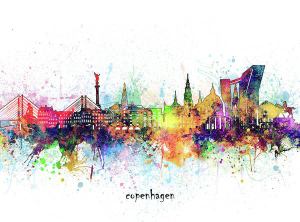 Wall Art - Digital Art - Copenhagen Skyline Artistic by Bekim M