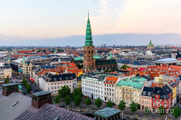 Midtown Photograph - Copenhagen Skyline By Evening. Denmark by Aliaksei Kruhlenia