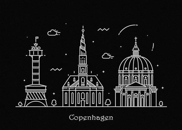 Copenhagen Skyline Travel Poster Art Print