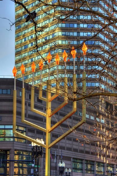 Photograph - Copley Square Menorah - Boston by Joann Vitali