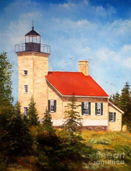 Lake Superior Painting - Copper Harbor Lighthouse by Lee Piper