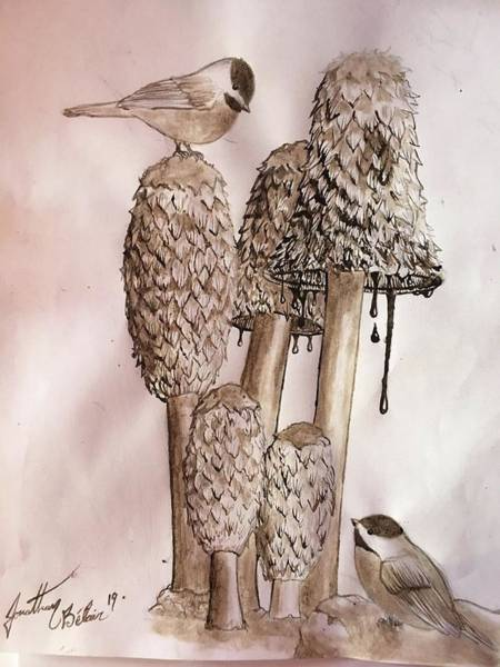 Funghi Painting - Coprinus And Chickadees by Jonathan Belair