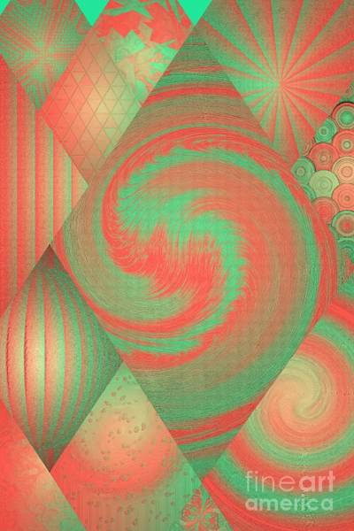 Digital Art - Coral And Green Modern Collage by Rachel Hannah