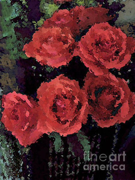 Photograph - Coral Colored Roses With Watercolor Effect by Corinne Carroll