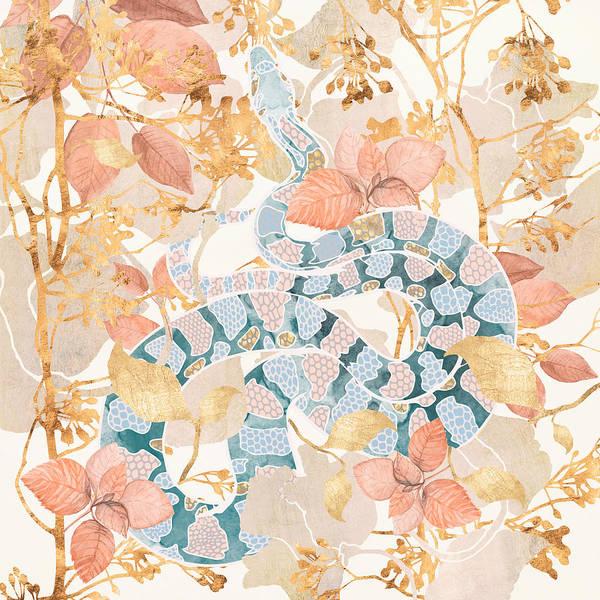 Gold Leaves Digital Art - Coral Spring Garden by Spacefrog Designs