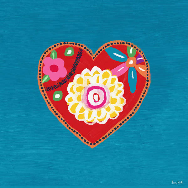 Blue Heart Wall Art - Mixed Media - Corazon 3- Art By Linda Woods by Linda Woods