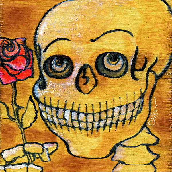 Wall Art - Painting - Corazon Sugarskull Holding Rose by Miko Zen