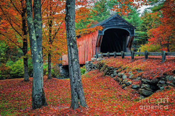 Photograph - Corbin Covered Bridge Newport New Hampshire Fall 3 by Edward Fielding