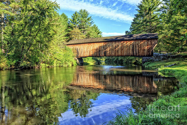 Photograph - Corbin Covered Bridge Newport New Hampshire Morning by Edward Fielding