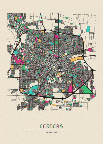 Wall Art - Drawing - Cordoba, Argentina City Map by Inspirowl Design